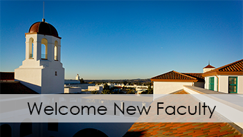 SDSU's Student Union with Welcome New Faculty text
