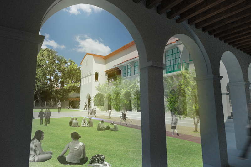 New Engineering building, looking through arches